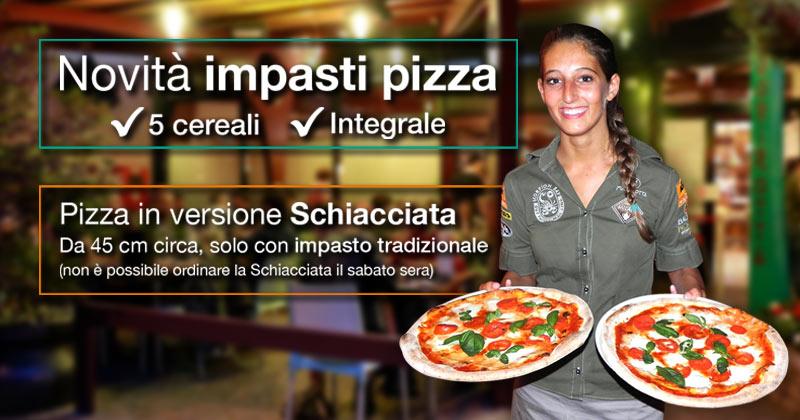 Novità al ristorante Fuorirotta: impasti per pizza ai 5 cereali, integrale e pizza in versione schiacciata