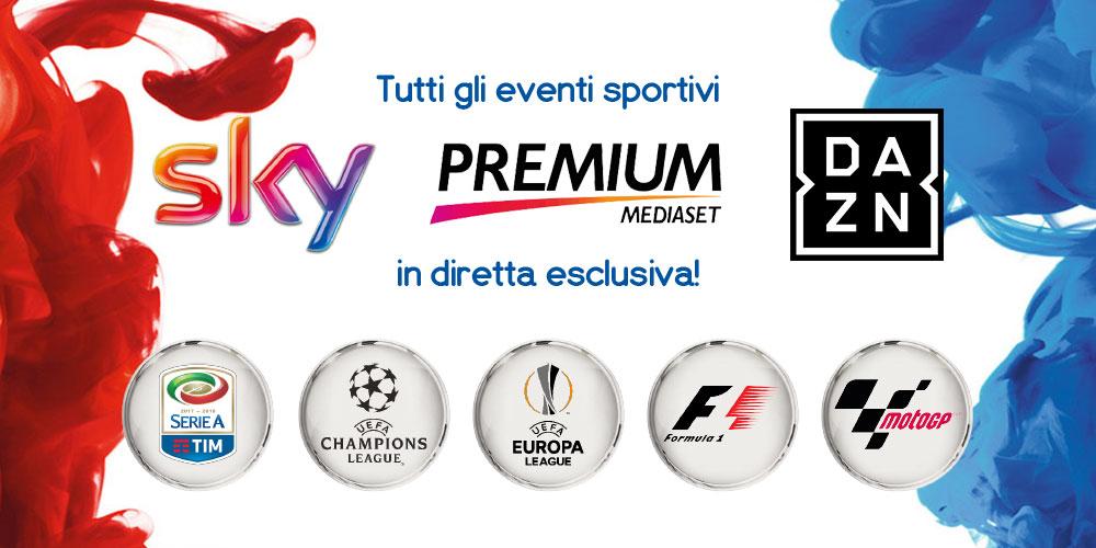 Gli eventi sportivi Sky, Mediaset Premium e DAZN in diretta al Fuorirotta!